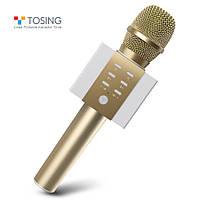 Микрофон караоке TOSING 008 (TUXUN) Оригинал, НОВАЯ модель 2019 года! Беспроводной, Bluetooth Золотой / Gold