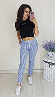 Коттоновые женские брюки в полоску батал