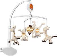 """Музыкальный мобиль,   карусель, подвеска на кроватку малыша  """"Мартышки и Жирафики""""Babyono 1367"""