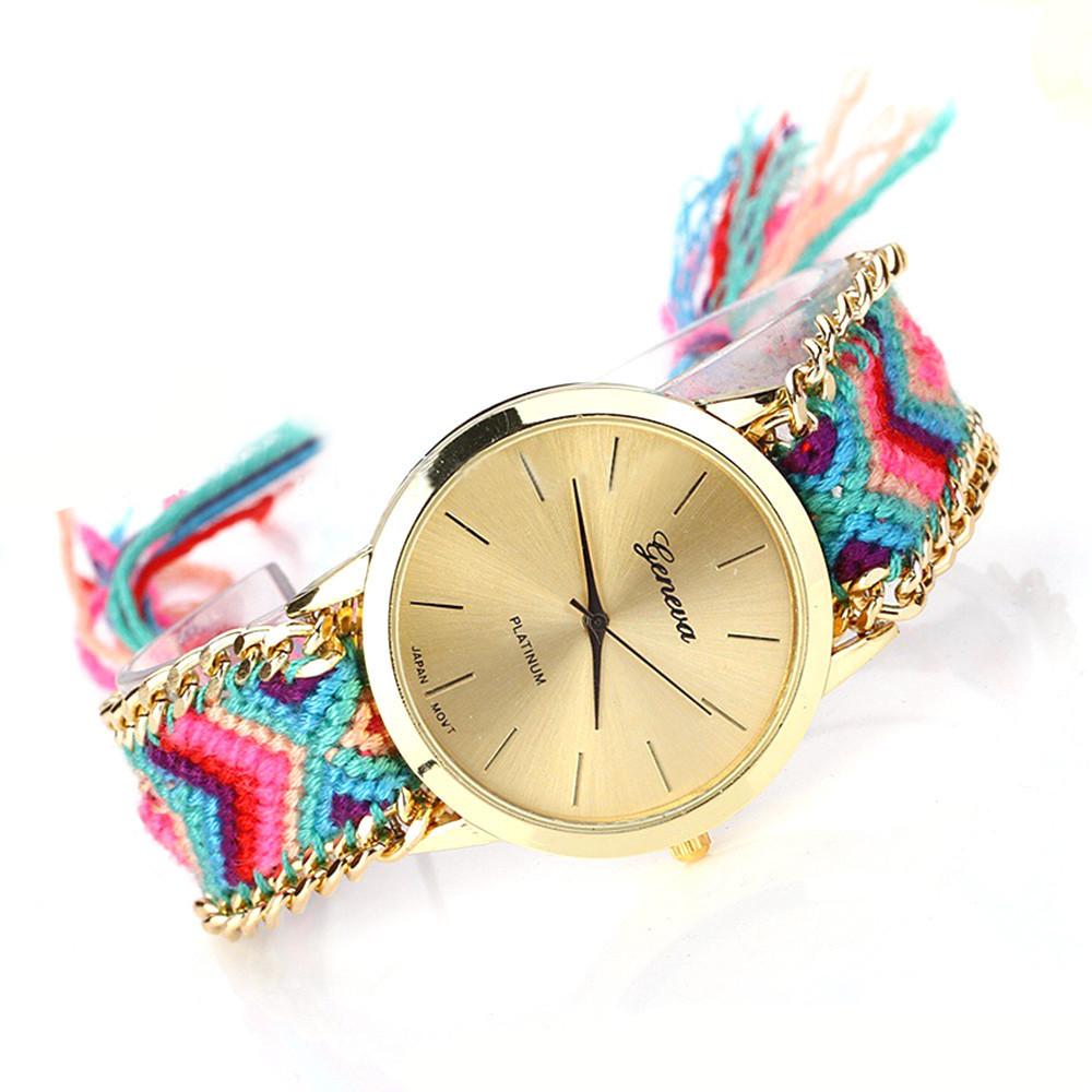 Часы веселые / цветной плетенный ремешок  / Китай