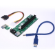 Riser PCI-EX, x1=>x16, 4-pin MOLEX, SATA=>4Pin, USB 3.0 AM-AM 0,6 м (синий) , конденсаторы EL1608, Пакет