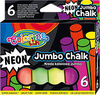 Мелки цветные неоновые 6 цветов, Colorino Jumbo