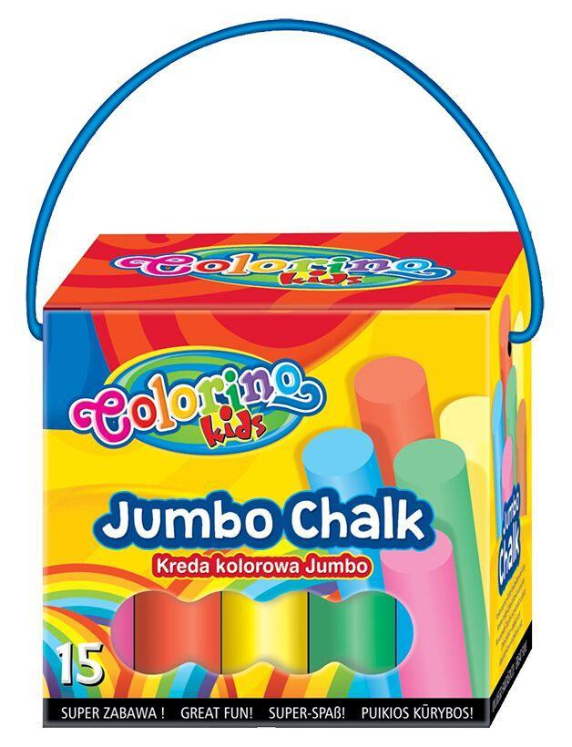 Мелки цветные в картонном ведерке 15 мелков/6 цветов, Colorino Jumbo
