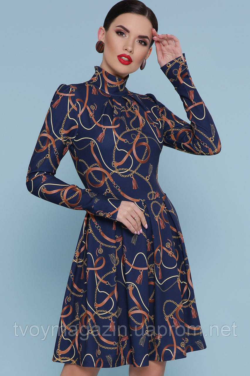Модное синее платье с золоми цепями Сучасна синя сукня з золотими ланцюгами