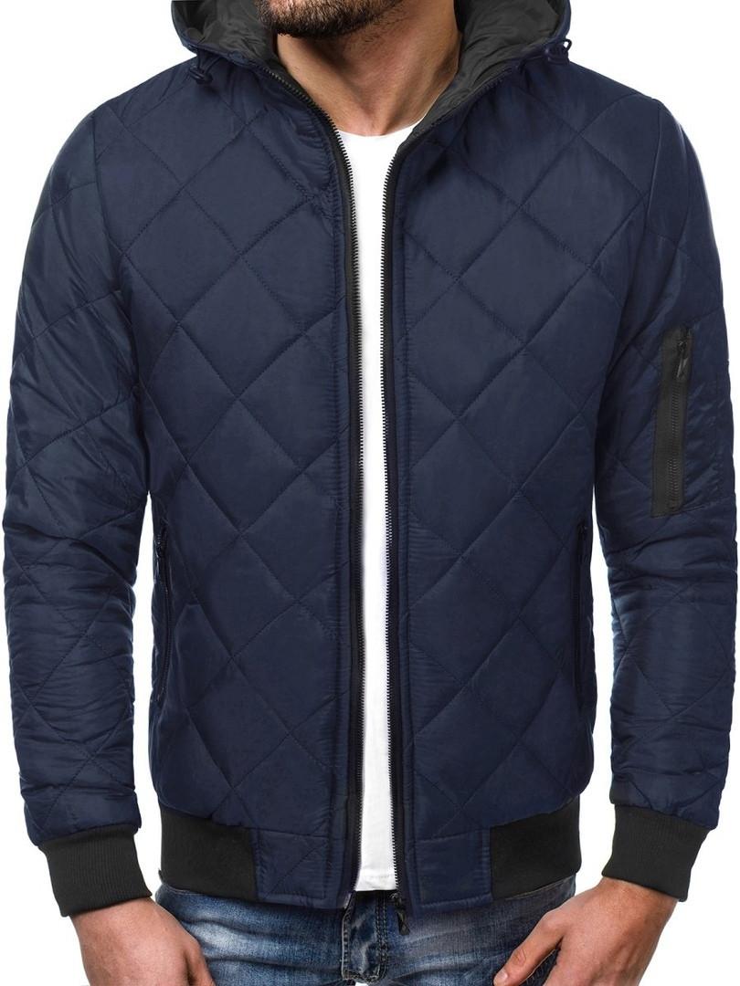 Куртка мужская синего цвета J.Style стеганая с капюшоном