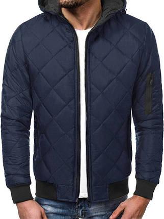 Куртка мужская синего цвета J.Style стеганая с капюшоном, фото 2