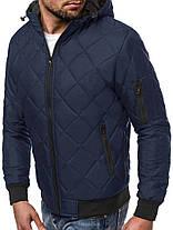 Куртка мужская синего цвета J.Style стеганая с капюшоном, фото 3