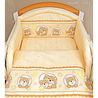 Комплект постельного белья в детскую кроватку Мишка в круге (простынь на резинке)  хлопок ТМ Медисон Украина