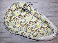 Кокон - гнёздышко с кружевом единороги и мелкий звездопад для новорожденного