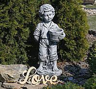 Садовая скульптура Мальчик с цветочным горшком 30.5×24.5×65.5cm SS12141-16