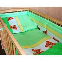 Комплект постельного белья в детскую кроватку Мишка в горох (простынь на резинке)  хлопок ТМ Медисон Украина