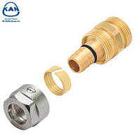 "KAN-therm соединитель латунный свинчиваемый для труб PE-Xc/Al/PE-HD 18х2,5 мм, 1/2"" НР, 9007.44"
