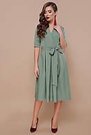 Платье хаки с коротким рукавом и пышной юбкой Сукня хакі з коротким рукавом і об'ємною спідницею