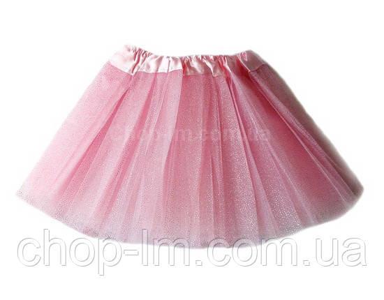 Детская фатиновая юбка с блестками (розовая) до 6 лет, фото 2