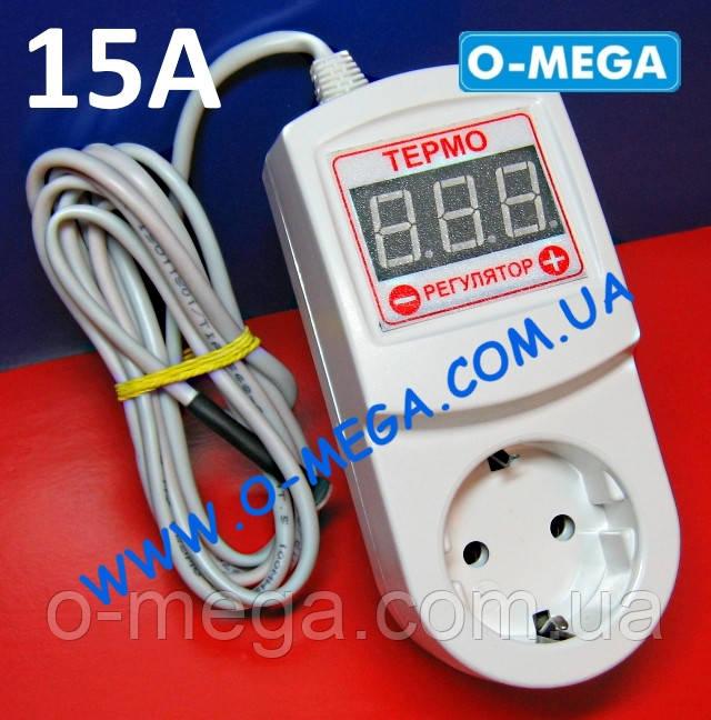 Терморегулятор цифровой ЦТР3-2ч с заземлением 15А (-40...+125) точность настройки 0,1°С