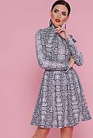 Платье под рептилию с пышной юбкой Сукня з зміінним принтом і об'ємною спідницею
