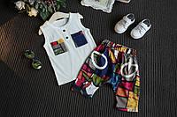 Костюм майка и шорты June Kids Цветные кармашки рост 128 см белый+красный 06034/03, фото 1