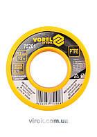 Фум - стрічка VOREL тефлонова ущільнююча, l= 12 м, b= 12 мм, h= 0,1мм