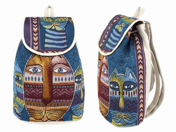 Рюкзак городской холщовый с вышивкой Котики