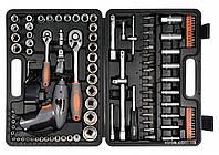 Набор инструментов STHOR 1/4 и 1/2 с аккумуляторной отверткой 109 шт