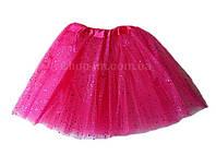 Детская фатиновая юбка с блестками (малиновая) до 6 лет