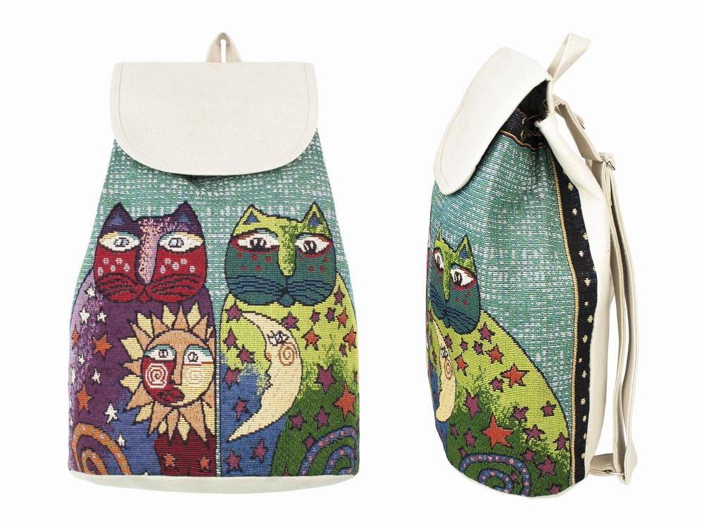 Рюкзак холщовый с вышивкой Котики Солнце и Луна