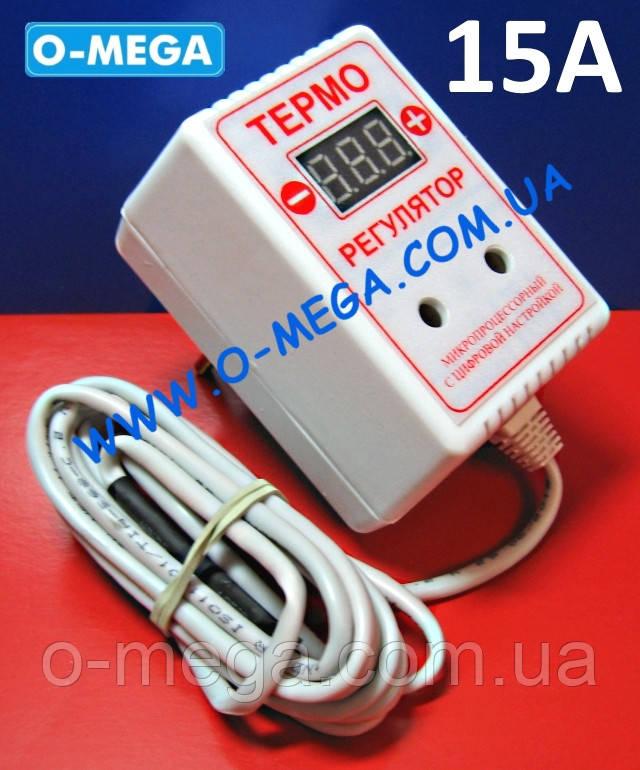 Терморегулятор цифровой ЦТР3-2ч в розетку 15А (-40...+125) гистерезис 0,1°С