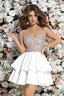 Вечернее женское платье с пышной юбкой-воланы