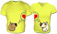 Парные футболки Влюблённые Собаки