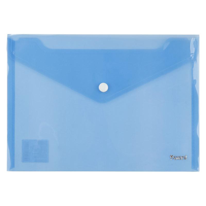 Конверт на кнопке А5 полупрозрачный синий Axent, 1522-22-A, 37050