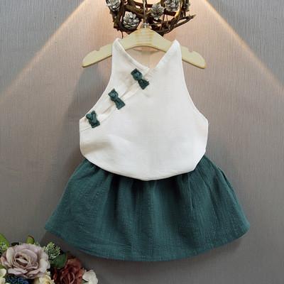 Комплект блузка и юбка June Kids Китаянка рост 128 см белый+зеленый 06043/03