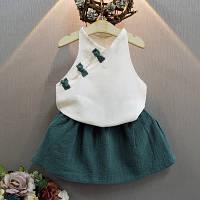 Комплект блузка и юбка June Kids Китаянка рост 128 см белый+зеленый 06043/03, фото 1