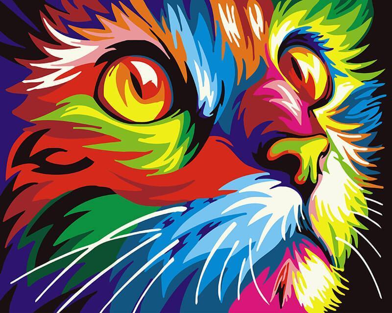 Картина по номерам Радужный кот, 40x50 см., Brushme