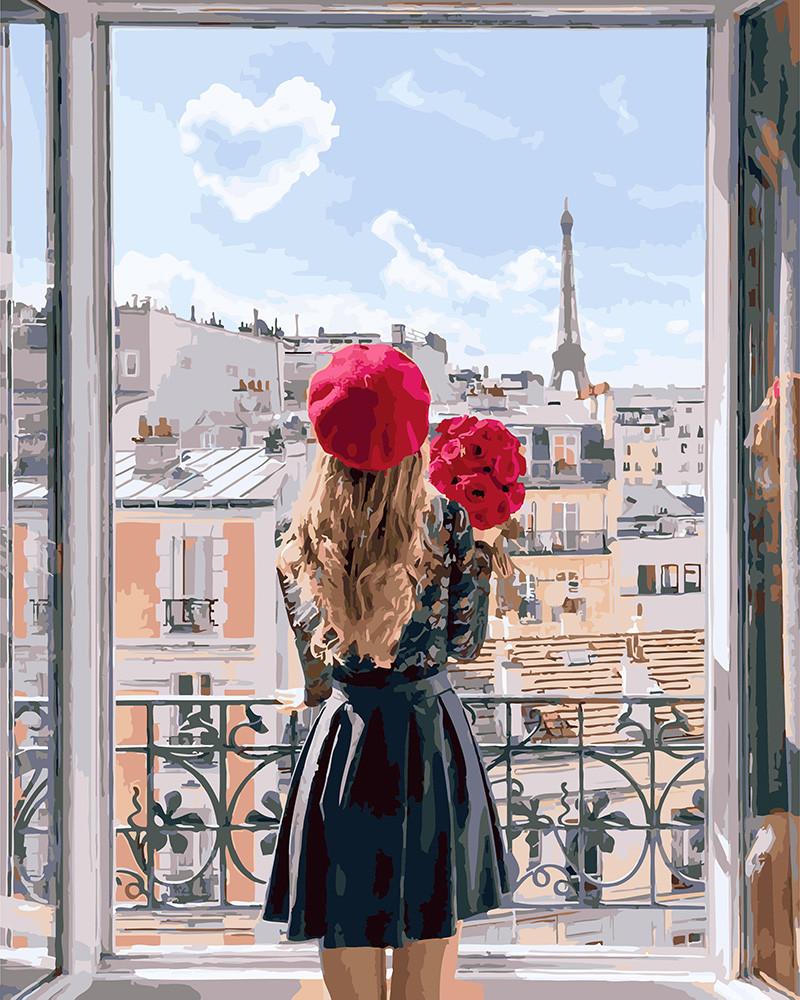 Картина по номерам Мадмуазель Париж, 40x50 см., Brushme