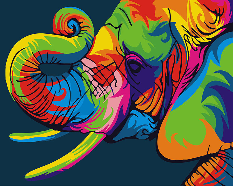 Картина по номерам Радужный слон, 40x50 см., Brushme
