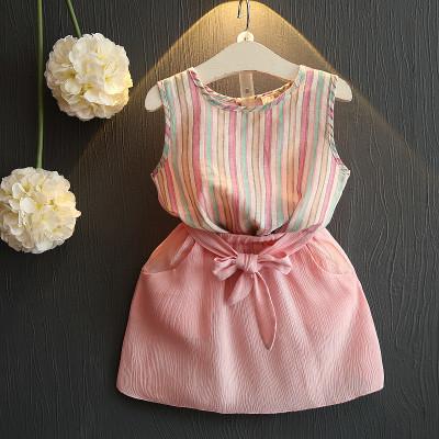 Костюм блузка и юбка June Kids Полоски рост 122 см розовый+голубой 06048/02