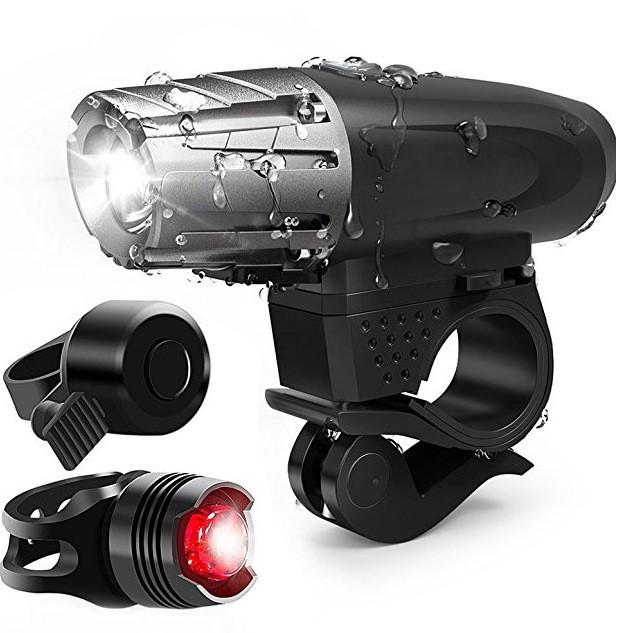 Велосипедный фонарь фара велозвонок набор 3 в 1