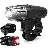Велосипедная фара фонарь велосипедный звонок набор 3 в 1 + подарочная упаковка
