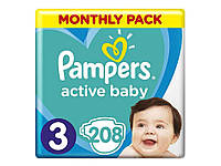 Пiдгузки Active Baby № 3 Midi (6-10 кг) 208шт ТМPampers