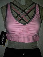Топ (майка)женский спортивный короткий розовый