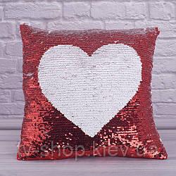 Подушка с пайетками перевертышами Сердце