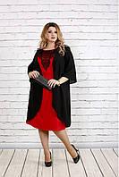 Черное свободное платье с алым большой размер | 0747-1