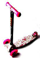 Детский самокат MAXI. Принт Роза, малиновые светящиеся колёса, фото 1