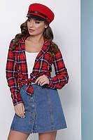 Женская хлопковая рубашка на пуговицах в модную клетку красная, фото 1