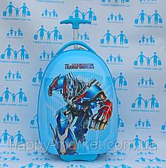 Чемоданы детские пластиковые овальные для мальчика Josepf Ottenn Трансформеры голубые 16-JDX-102-1