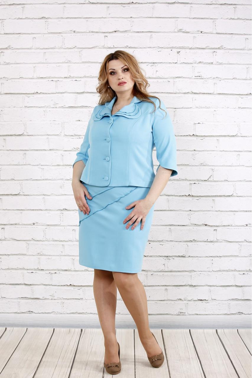 Строгий нежный голубой костюм (платье и жакет) большой размер   0766-1