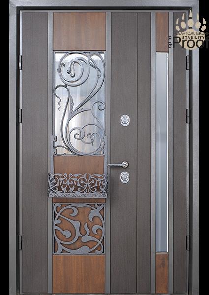 Двери уличные, полуторные, со стеклопакетами, модель Eridan Rio, комплектация Proof Standard Hook