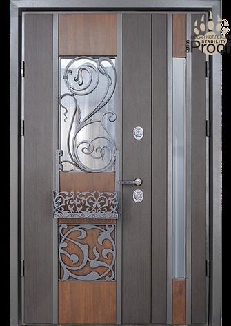 Двери уличные, полуторные, со стеклопакетами, модель Eridan Rio, комплектация Proof Standard Hook, фото 2
