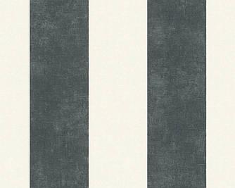 Обои виниловые в черную и белую широкую полосу 367181