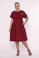 / Размер 50, 52, 54, 56 / Женское летнее платье свободного покроя Мелисса / цвет бордо